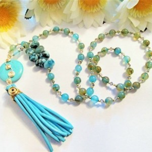 Tassel Necklace Turquoise Leather, Best Mom Ever, Friendship Gift, Mother In Law Gift, Gift for Step Mom, Boho Necklace, Grandmother Gift