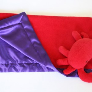 Red crab Security Blanket, Lovey Blanket, Satin, Baby Blanket, Stuffed Animal, Baby Toy - Customize Color - Monogramming Available