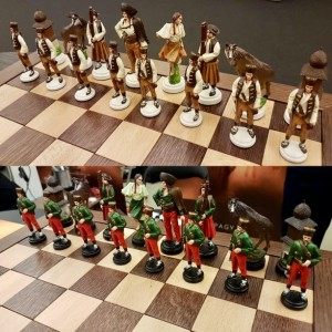 Bandits Tin Handmade Chess Sets - hand painted