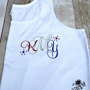 Women's 4th of July Red, White, Blue, Monogram with Optional Metallic Thread ,Ladies T-Shirt, Tank Top, Plus Size, Girls Monogrammed Shirt