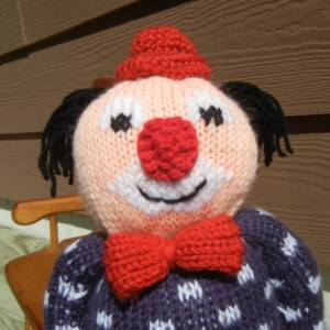 Doll Clown, Hand Knitted Clown,  Knit Clown, Stuffed Doll, Clown with Bow and Hat, Stuffed Clown, All Handmade, Nursery Decor, READY TO SHIP