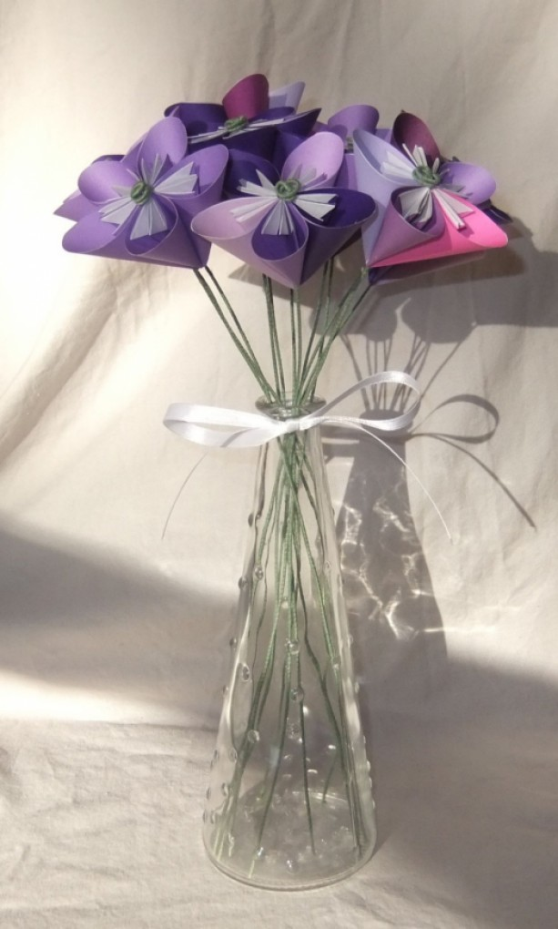 Purple Origami Flower Bouquet | aftcra on church flowers for vases, bridesmaid bouquets for vases, funeral flowers for vases, feather arrangements for vases, artificial flowers for vases, fairy lights for vases, party decoration for vases,