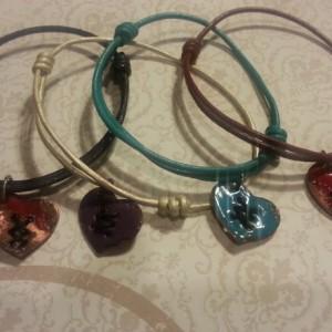 Adjustable leather enameled copper heart bracelet/ mending a broken heart.