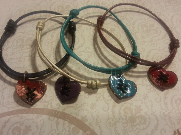 Adjustable leather enameled copper heart bracelet/ mending a broken heart.