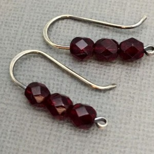 Sterling Silver-filled stacked faceted garnet-red Czech Glass earrings