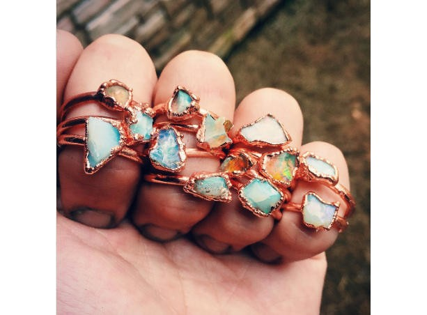 Raw opal ring - Opal ring - Fire opal ring - Rough opal ring - Australian opal ring - Copper opal ring - Electroformed ring - raw stone ring