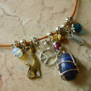 Natural leather Necklace with Lapis Lazuli pendant and charms beads,  #N00139