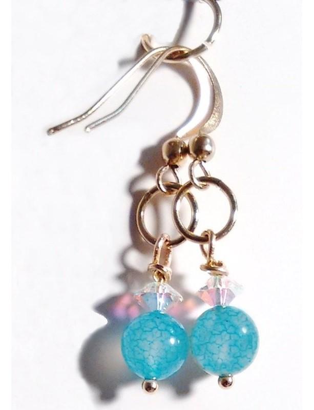 Blue Fire Agate Gemstone Earrings, Clear Crystal Earrings, Gold Earrings, Gemstone Jewelry, Dangle Earrings, On Sale, Girlfriend Gift, Hers