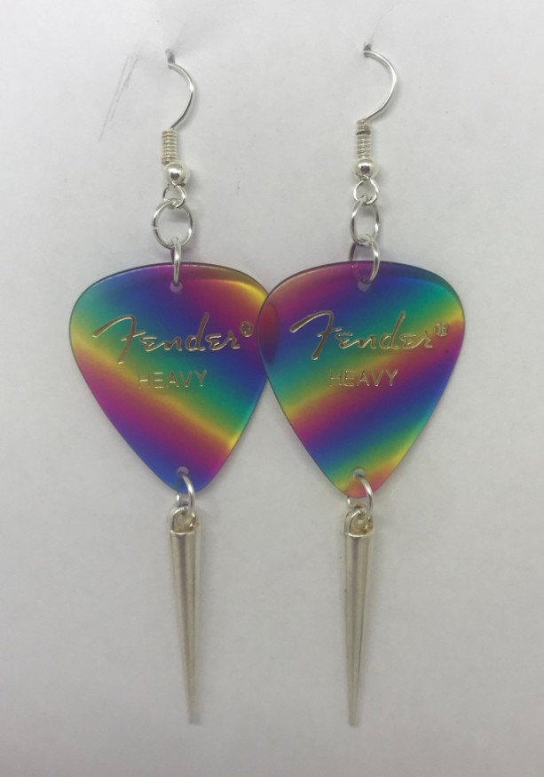 Rainbow Fender Dangle Earrings
