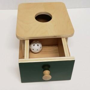 Montessori Imbucare Box with Ball and Drawer - Infants Montessori Object Permanence Box -  (OP101)