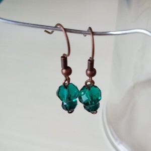 Gorgeous Handmade Bronze and Glass Green Dangle Drop Earrings