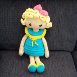 Hand crocheted Veronica Doll - Dress and undress doll.  Blonde Curly Hair - Turquoise/Yellow Dress