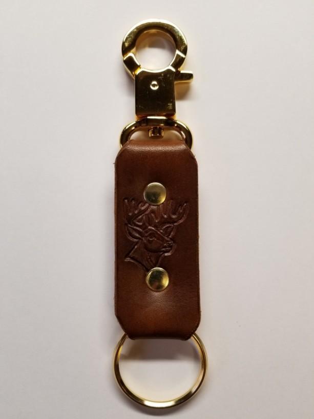 Snap Ring Key Fob, Handmade, Leather, Stamped Emblem, Light Brown, Gold Plate Hardware