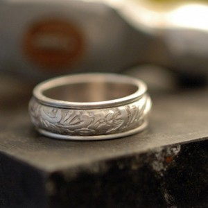 Floral Spinner Ring in Polished Sterling Silver - Made Upon Order