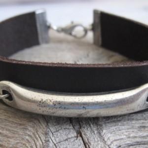 Men Bracelet - Men Silver Bracelets - Men Leather Bracelet - Men Cuff Bracelet - Men Jewelry - Men Gift - Boyfriend Gift - Husband Gift