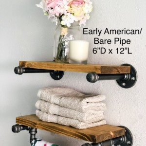 Towel Holder & Shelf -- Floating Rustic Iron Pipe Farmhouse, Industrial, Steampunk Shelving Bathroom and Kitchen