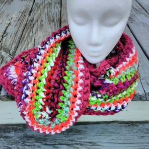 Multicolored scarf, Freeform crochet, Long, Vegan friendly