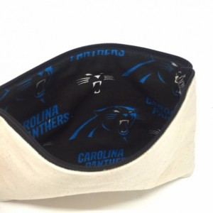Cosmetic Pouch w/ Carolina Panthers Lining - Travel Bag, Small Makeup Pouch, Makeup Bag, Cosmetic Bag, Zipper Pouch, Gifts For Her, Panthers