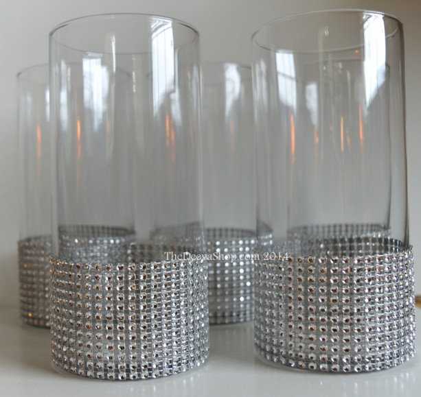 Centerpiece Cylinder Vase Lot Silver Bling Rhinestone Diamond Cry