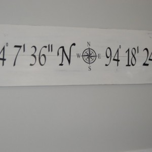 Large Latitude longitude sign