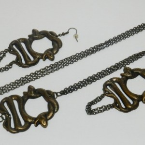 Double Snake Earrings and Necklace Set A09201