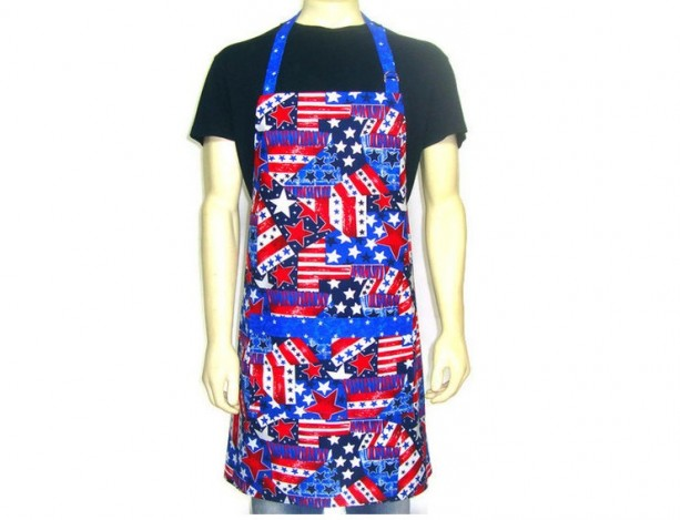Patriotic Kitchen Apron for Men , Stars and Stripes, Red White and Blue, American Flag