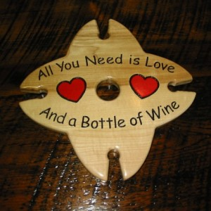 Wine Caddy - 4 glass holder - All I Need is Love