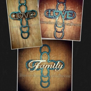 Horseshoe Cross Love cross Turquoise blue, Blue metal art, Turquoise Blue western Cross, Blue country color, wedding gift,housewarming gift