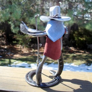 Cowboy sculpture fisherman