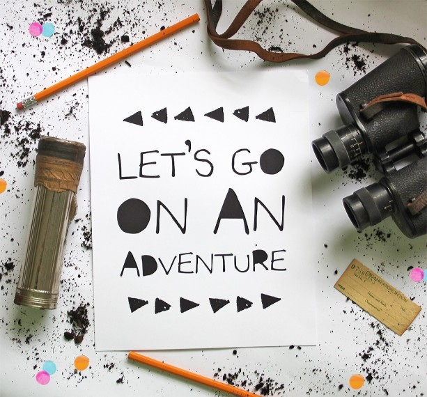 Nursery Wall Art Decor | Let's Go On An Adventure | Kid's Room Decor | Inspirational Poster | Adventure Art Print | Explore Poster