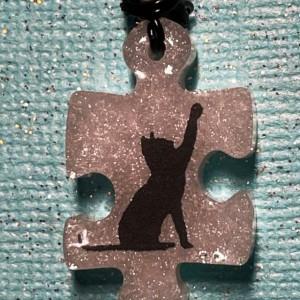 Cat Puzzle Piece Pendant Necklace