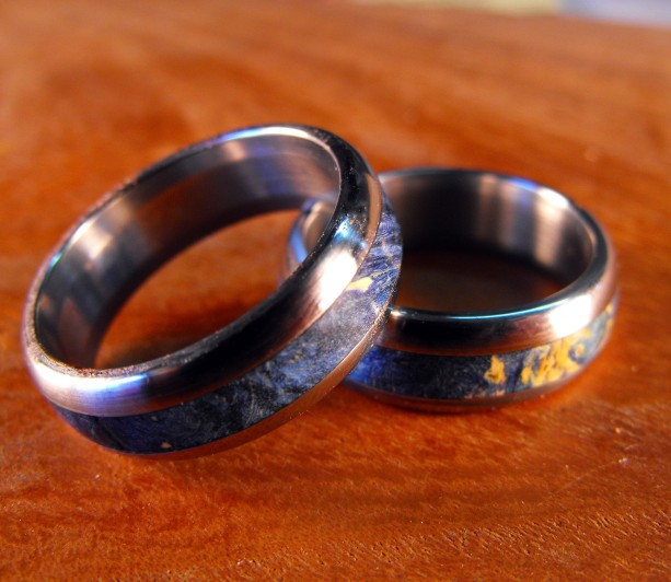 Wood Wedding Rings.Wedding Rings Titanium Wood Rings Wood Ring Blue Ring Mens Wedding Ring Wedding Band Set His And Hers Set Custom Made Ring Unique
