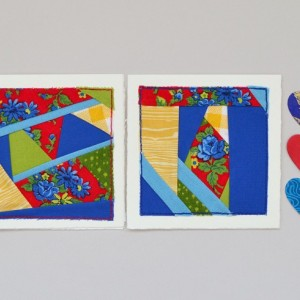 Bright fabric card set -- two patchwork quilt block cards