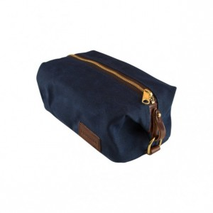 Navy Wax Canvas Shaving Kit Dopp Kit