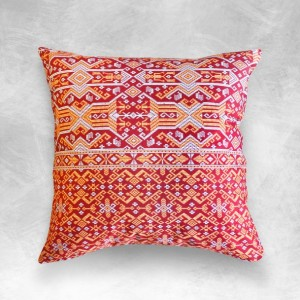 "Ikat Pillow Cover, Indonesian ""Dayak Rouge"" Traditional Printed Ikat Decorative Pillow Cushion from Borneo"