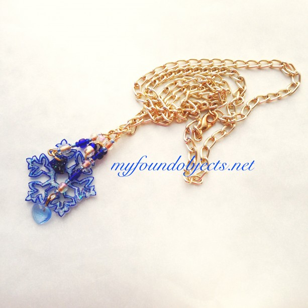 Snowflake Goldtone with Glass Heart Charm