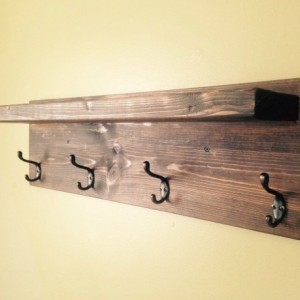 Rustic Design Wood Coat Rack - Oil Rubbed Bronze 4 hook - Dark Walnut - Custom Finish Avail.