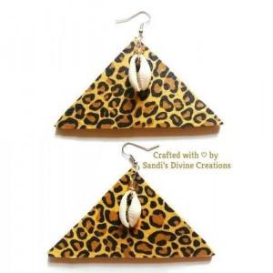 Cheetah Print Fabric, Ankara Earrings, Animal Print Earrings, Cowrie Earrings,  Cowrie Shell Earrings, Beaded Earrings, Cowry Earrings, Shell