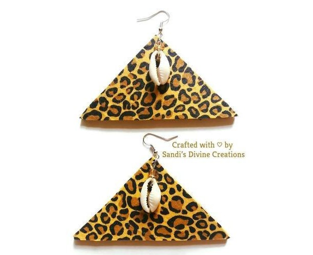 Cheetah Print Fabric, Ankara Earrings, Animal Print Earrings, Cowrie Earrings,  Cowrie Shell Earrings, Beaded Earrings, Cowry Earrings, Shell
