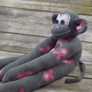 Sock monkey : Breast Cancer Jen ~ The original handmade plush animal made by Chiki Monkeys