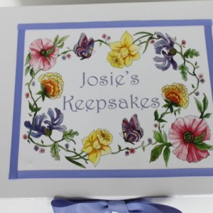 Colonial Floral decoupage and ribbon Keepsake Memory Box personalized baby gift