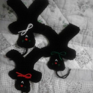 set of three teddy bear ornaments