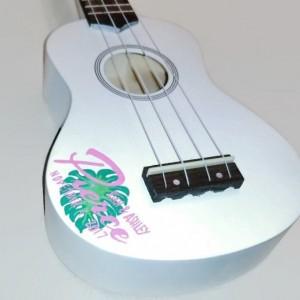 Custom White Wedding Ukulele, Guesbook Ukulele, Bridal Ukulele, Guest Sign Ukulele, Floral Print Ukulele, Hand Painted ukulele, Decorated Uk