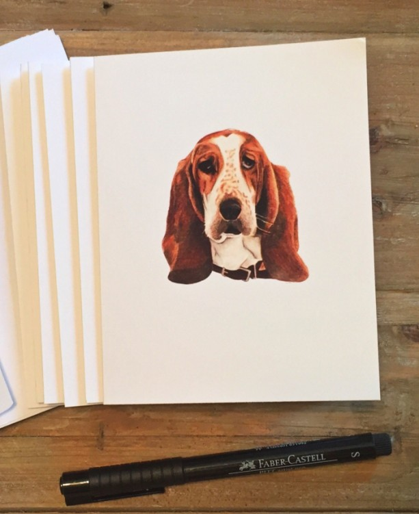 Basset Hound Cards with envelopes, Basset Hound Gift, Blank Note Cards, Stationery Set, Custom Stationery, Stationery Gift, Note Card Set