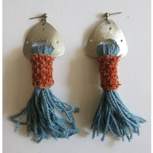 frida kahlo fringe earrings native tassel afrocentric bold sky blue goddess