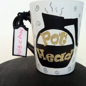 Pot Head Glitter Hand Painted Coffee Cup Mug 14 oz