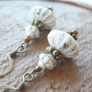 Earrings White Color Pumpkin Beads Shabby Chic Halloween Antique Style Handmade Boho Fall Vintage Style Retro