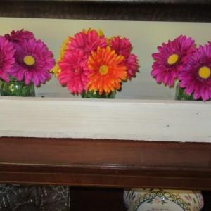 Antique White Wash Wood Planter Box • Mason Jar Centerpiece, Long wood box, Candle Holder, Wedding Centerpiece • 31 inches long