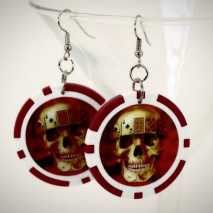 Skull Poker Chip EARRINGS - Rockabilly Punk Las Vegas Blackjack Upcycled Alternative