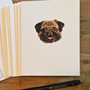 Pug Cards with envelopes, Pug Stationery, Pug Note Cards, Pug Life, Pug Gift, Pug Paper, Dog Stationery, Dog Cards, Dog Gift, Dog Lover Gift